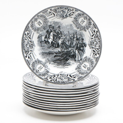 Belgian Boch La Louviere Napoleonic Wars Transfer Printed Ceramic Plates