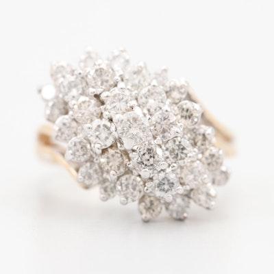 "14K Yellow and White Gold 2.60 CTW Diamond ""Waterfall"" Ring"