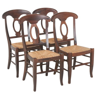 Rush Seat Wood Dining Chairs, Late 20th Century, Set of Four