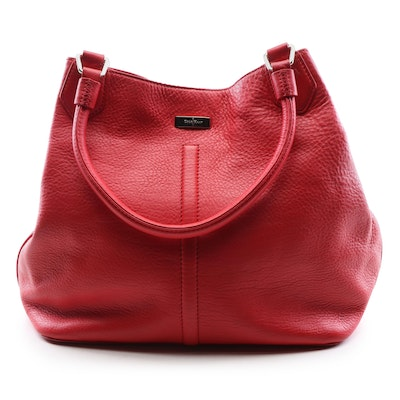 Cole Haan Red Pebbled Leather Tote Bag