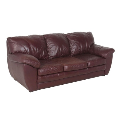Maroon Leather Sofa, Late 20th Century