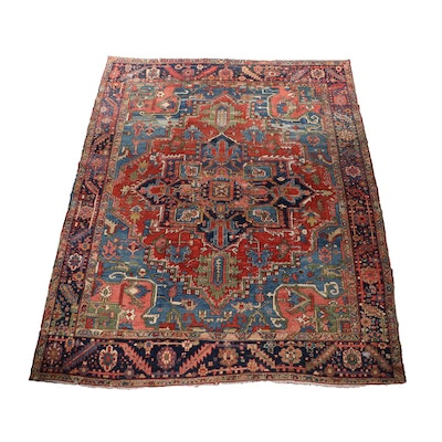 Hand-Knotted Persian Heriz Wool Room Sized Rug, circa 1900