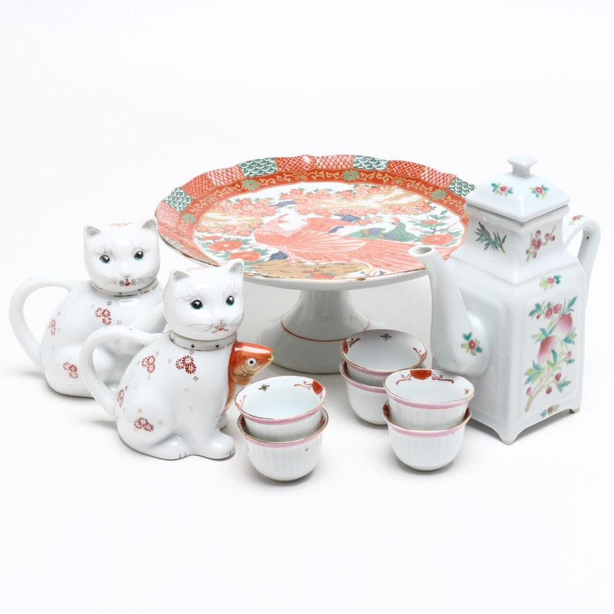 Chinese Porcelain Cat Teapots with Cups, Japanese Cake Plate, and Other Teapot