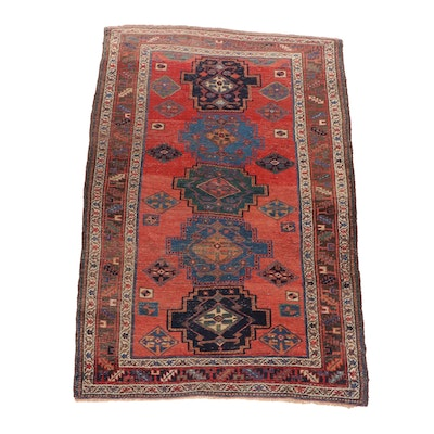 Hand-Knotted Kurdish Bijar Wool Rug, Late 19th Century