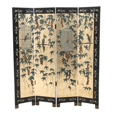Japanese Gilt Coromandel Lacquer Screen, Circa 1980s