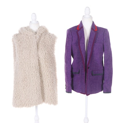 J.Crew Collection Harris Tweed Wool Jacket and Arianna by Howard's Hooded Vest