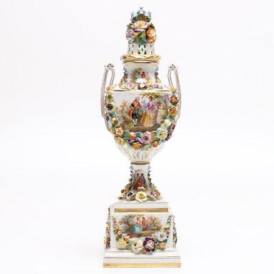 Monumental Carl Thieme Porcelain Lidded Urn, circa 1902