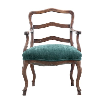 French Style Beech Ladder-Back Arm Chair, Mid-20th Century