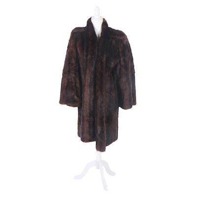 Dyed Muskrat Fur Coat, Mid-20th Century