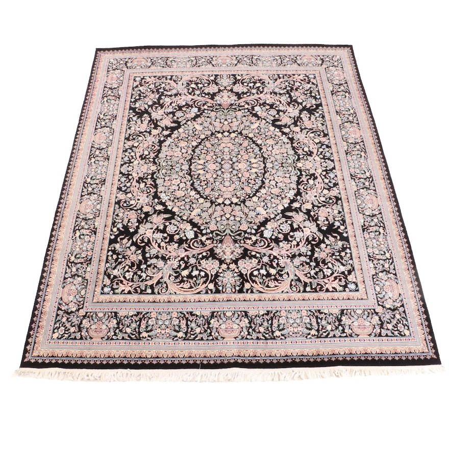 Hand-Knotted Indo-Persian Floral Wool Rug from Aria's Rugs