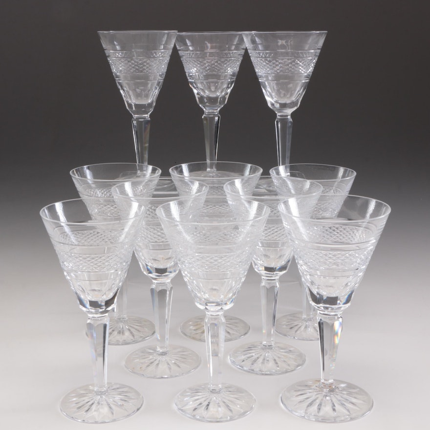 """Waterford Crystal """"Rossmore"""" Claret Wine Glasses, Mid to Late 20th Century"""