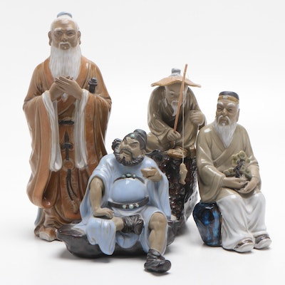 Chinese Wanjiang Ceramic Figures, Mid-Late 20th Century