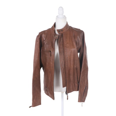 Women's Wilsons Brown Leather Zipper-Front Jacket with Snaps and Corset Lace-Ups