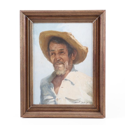 Antonio Godoy 1974 Portrait Oil Painting