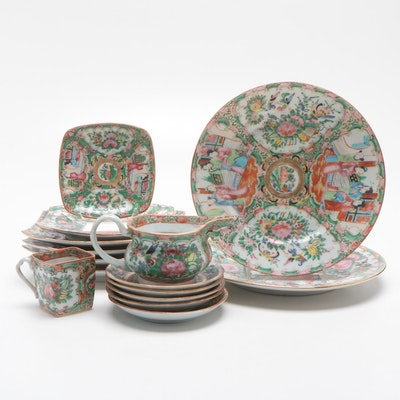 "Chinese Porcelain ""Rose Medallion"" Tableware Including Plates, Cup, and Creamer"