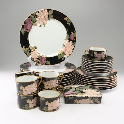 """Fitz and Floyd """"Cloisonne Peony"""" Porcelain Dinnerware and Card Box, 1979"""