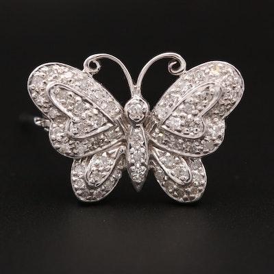 10K White Gold Diamond Butterfly Brooch