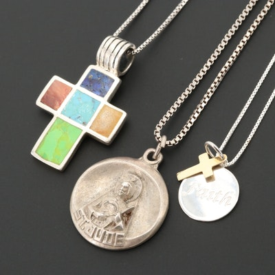 Sterling Religious Pendant Necklaces Including Turquoise, Lapis Lazuli and 14K