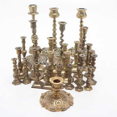 Brass Candlesticks Including London Peerage Brass, Early to Mid 20th Century