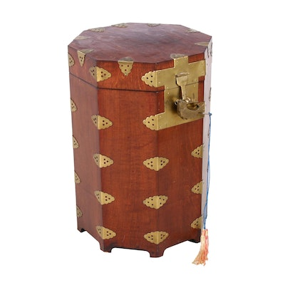 Chinese Octagonal Storage Box with Brass Strapwork and Fish Form Lock