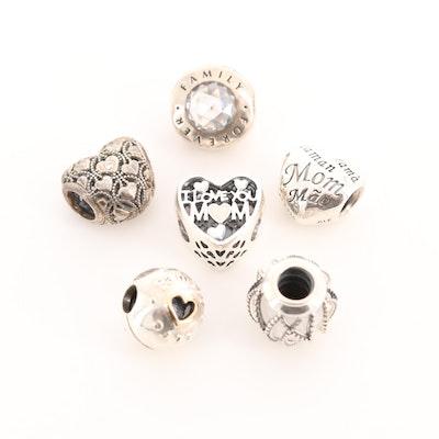 Six Pandora Sterling Silver Diamond, Cubic Zirconia and Glass Charm Beads