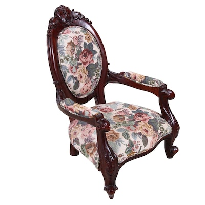 Victorian Style Floral Motif Child's Armchair