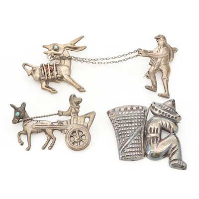 Vintage Mexican Sterling Silver Figural Brooches Including Peking Glass