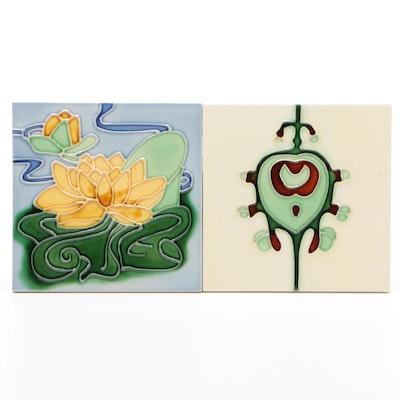 Majolica Tiles of Lotus Flowers and Bud