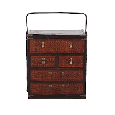 Chinese Wicker Basket with Drawers and Top Handle