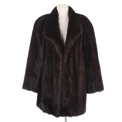 Dark Mahogany Mink Fur Stroller Coat from Koslow's, Vintage