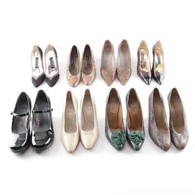 Designer Pumps Grouping Including Charles Jourdan Paris and Bruno Magli