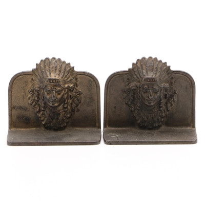 Bronze Patinated Cast Iron Figural Bookends, Early 20th Century