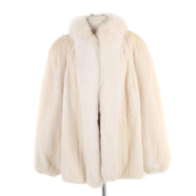 Platinum Mink and Arctic Fox Fur Coat from Koslow's