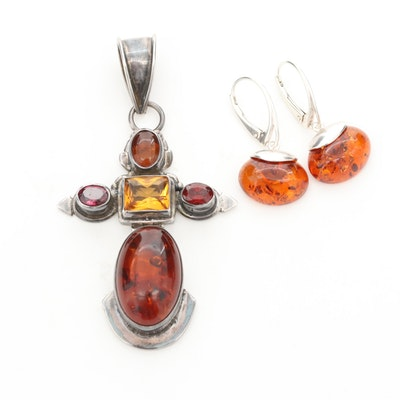 Sterling Silver Amber, Citrine and Garnet Cross Pendant and Earrings