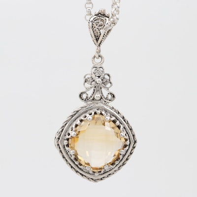 Sterling Silver 4.50 CT Citrine Pendant Necklace