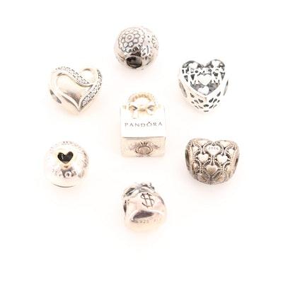 Seven Pandora Sterling Silver Diamond, Cubic Zirconia and Enamel Charm Beads