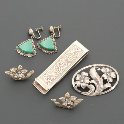 Sterling Silver Jewelry Including Glass, Baur and Money Clip