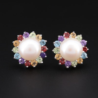 Sterling Silver Cultured Pearl and Gemstone Earrings