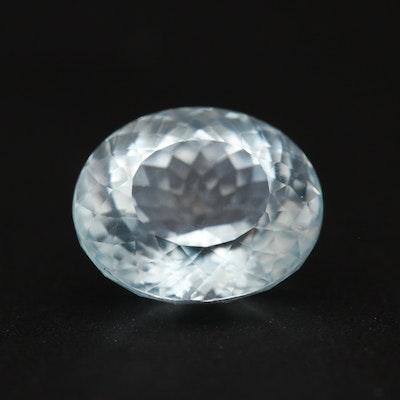 Loose 5.17 CT Oval Faceted Aquamarine Gemstone