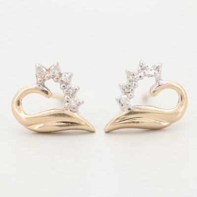 14K Yellow Gold Diamond Heart Shaped Stud Earrings