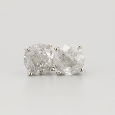 14K White Gold 1.26 CTW Diamond Stud Earrings