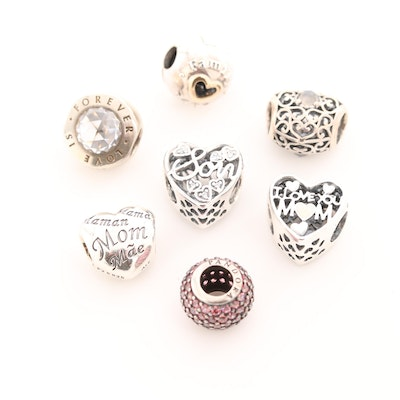 Seven Pandora Sterling Silver Moonstone, Cubic Zirconia and Enamel Charm Beads