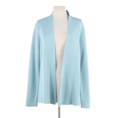 Eileen Fisher Blue Silk Blend Knit Open Front Cardigan
