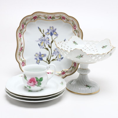 Meissen Porcelain Bread and Butter Plates, Cup, and Centerpiece and More