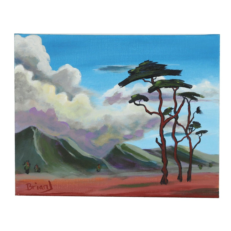 "Brian Johnpeer 2019 Acrylic Painting ""Three Trees"""