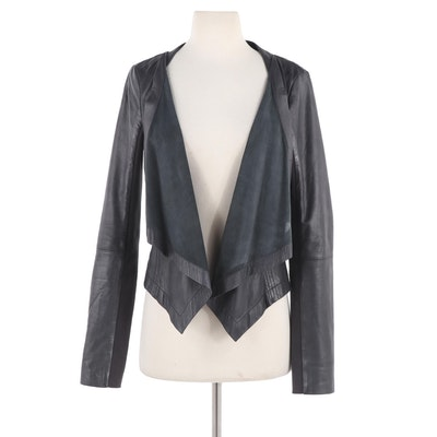 Trouvé Leather Waterfall Drape Jacket