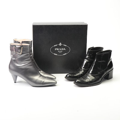 Prada Silver Leather and Black Patent Leather Heeled Booties