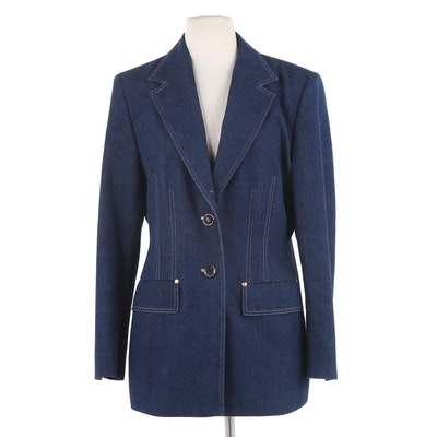 Escada by Margaretha Ley Blue Denim Blazer