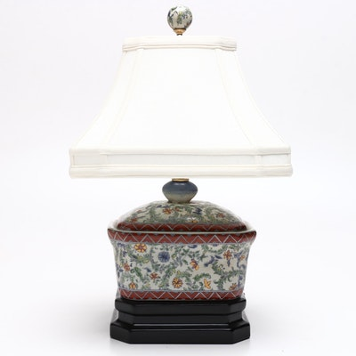 Chinese Export Porcelain Table Lamp with Resin Base, Late 20th Century