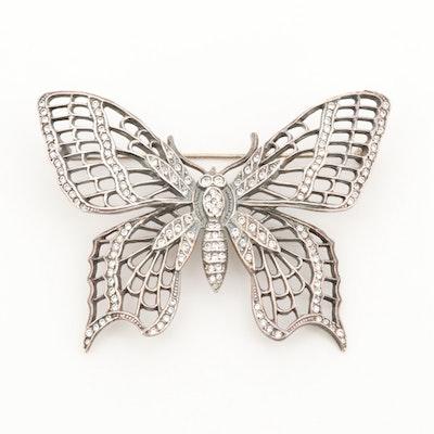 Sterling Silver Cubic Zirconia Butterfly Brooch